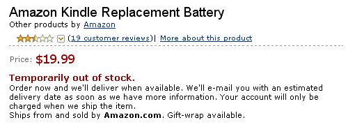 Amazon Kindle battery