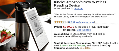 Amazon Kindle reduced to $359