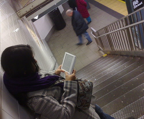 Amazon Kindle on the subway