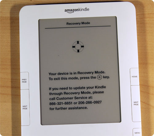 kindle 2 recovery mode