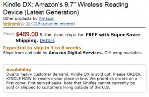 Kindle DX Sold Out